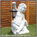 子供石像 ランプ付 イタリア製彫像 オーナメント 子供の庭園灯 トレド 照明 ガーデンオブジェ
