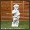 子供像 イタリア 洋風ガーデン 石像 トロンボーン 石造 花鉢 楽器シリーズ 子供の楽団