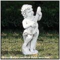 石像 リュート 子供の楽団 石造 子供像 イタリア 花鉢 楽器シリーズ 洋風ガーデン