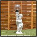 エンゼル照明 子供石像 子供の庭園灯 ガーデンオブジェ オーナメント 照明 イタリア製彫像