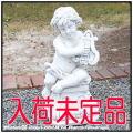 洋風庭園 エンゼル子供像 石造シリーズ 子供楽器像 レオポルド マンドリン 台座付子供像