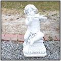 ヤーコポ 子供像 子供楽器像 フルート 台座付子供像 石造 オーナメント 輸入オブジェ 洋風ガーデン