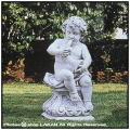 イタリア石像 ラッパ 洋風ガーデン 子供の楽団 石造 ロレンツィオ エンゼル像 オブジェ