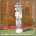 子供像 ガーデンオブジェ イタリア石像 洋風ガーデンライト 照明 彫像 乙女の庭園灯 ガーデン石像