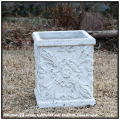 ホワイトガーデンシリーズ 人気シリーズ クアドラ花鉢、アンティーク仕様、石造置物、角型鉢、アラベスク柄