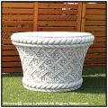 イタリア輸入鉢 花模様花鉢 ガーデン鉢 石造花鉢 クラシックデザイン 格調ある 3531 花束柄 格子模様