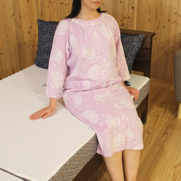 綿100% 二重ガーゼ花柄サテンストライプ 7分袖ワンピース レディースパジャマ