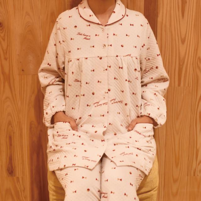 【在庫切れ】わた入り ふんわりあったか 裏綿100% 前開きパジャマ リボン