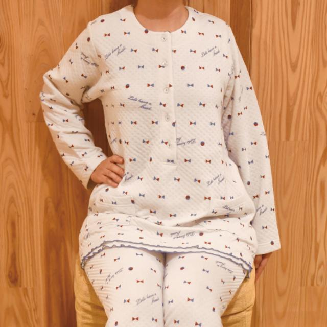 わた入り ふんわりあったか 裏綿100% パジャマ リボン かぶりタイプ