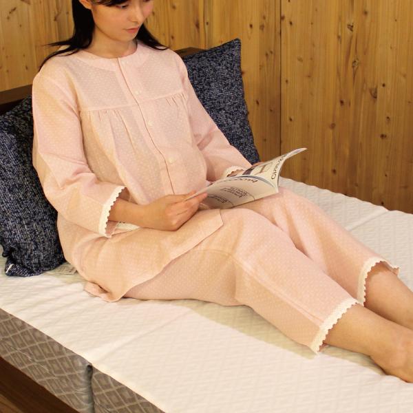【母の日フェア5/9まで送料無料】 綿100% さらっと二重ガーゼドット 7分袖 レディースパジャマ