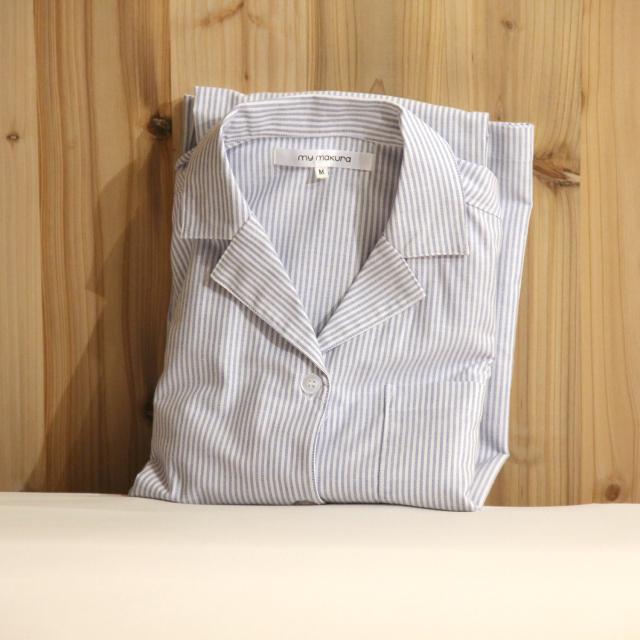 綿100% 通気性が良くソフトな メンズ 長袖シャツ ストライプ パジャマ 前開き 日本製