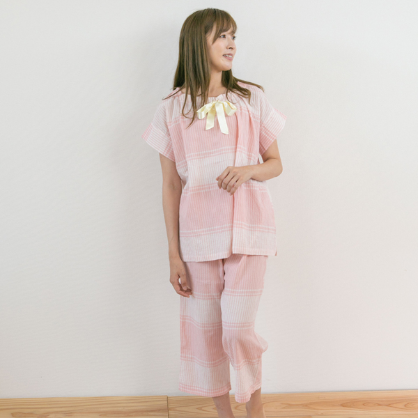 【SALE】シワ加工が涼しい ローンシャーリングストライプチェック 半袖 レディースパジャマ