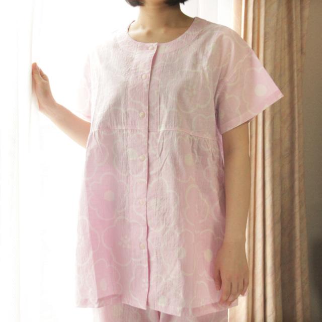 ふんわり軽やかラインフラワー半袖パジャマ