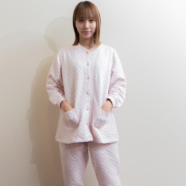 裏綿100% わた入りあったかパジャマ ボリュームタイプ 前開き しぼり付き