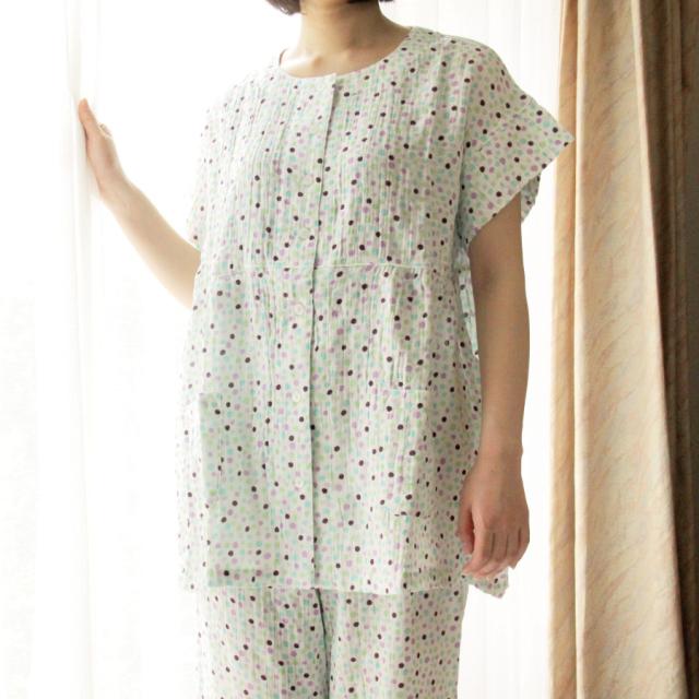ふわっとやわらか二重ガーゼ半袖パジャマ ドット柄 レディース
