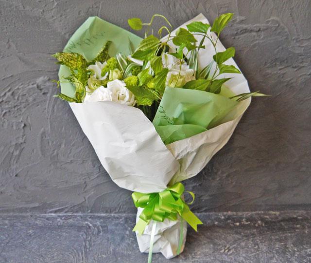 スタンダード花束《ホワイト・グリーン系》
