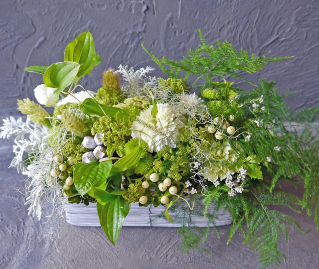 【お花おまかせ】ロー&ワイドアレンジメント《ホワイト・グリーン系》