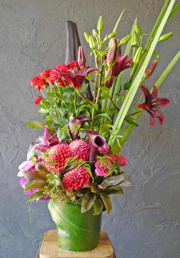 【お花おまかせ】トールアレンジメント《red》
