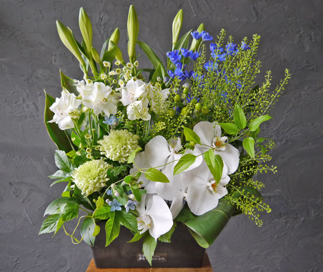 【お花おまかせ】御供えワイド&トールアレンジメント《ブラック》
