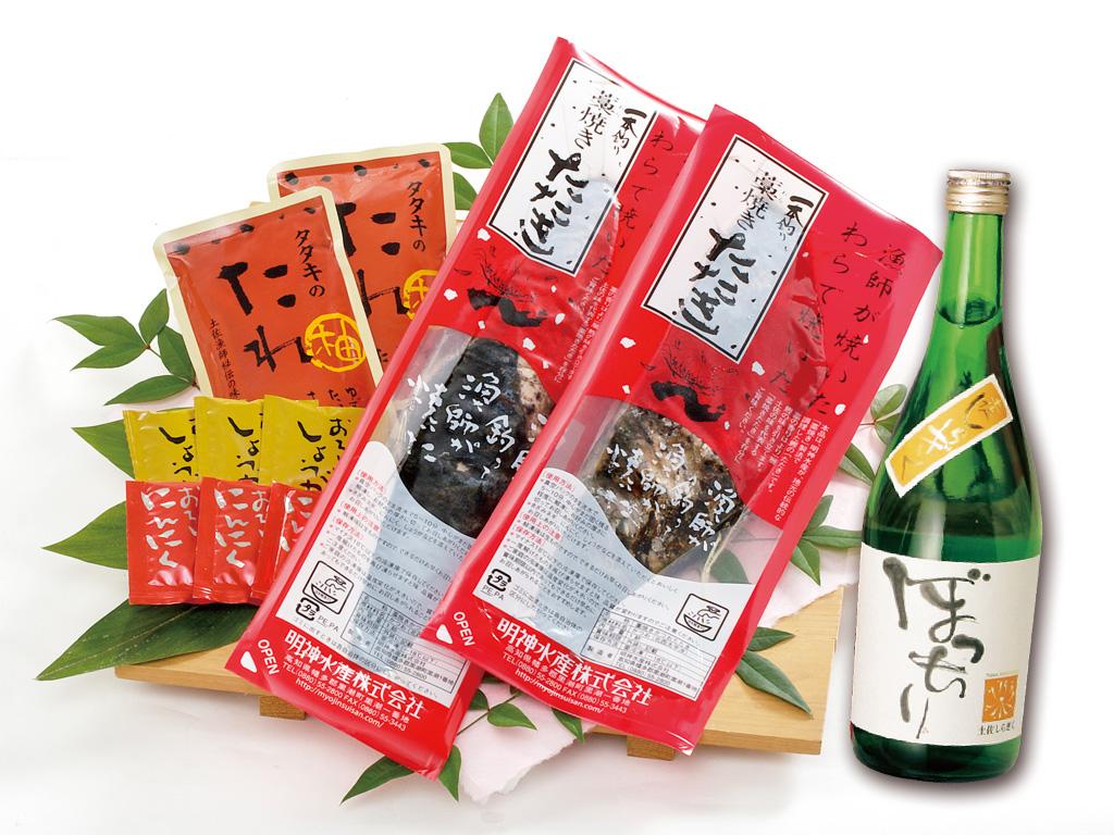 藁焼き鰹たたき2節と純米酒『ぼっちり』セット〔BT-1〕