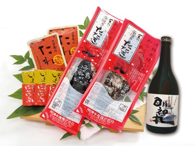 藁焼き鰹たたき2節と芋焼酎『明神丸』セット〔MI-1〕