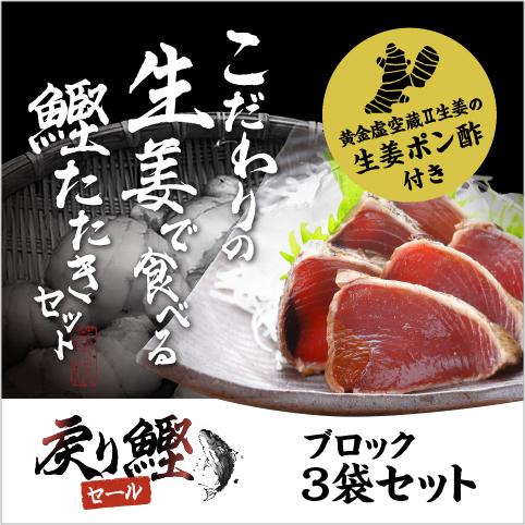 【期間限定】こだわりの生姜で食べる鰹のたたきブロック3袋(750g)セット〔SP-1〕