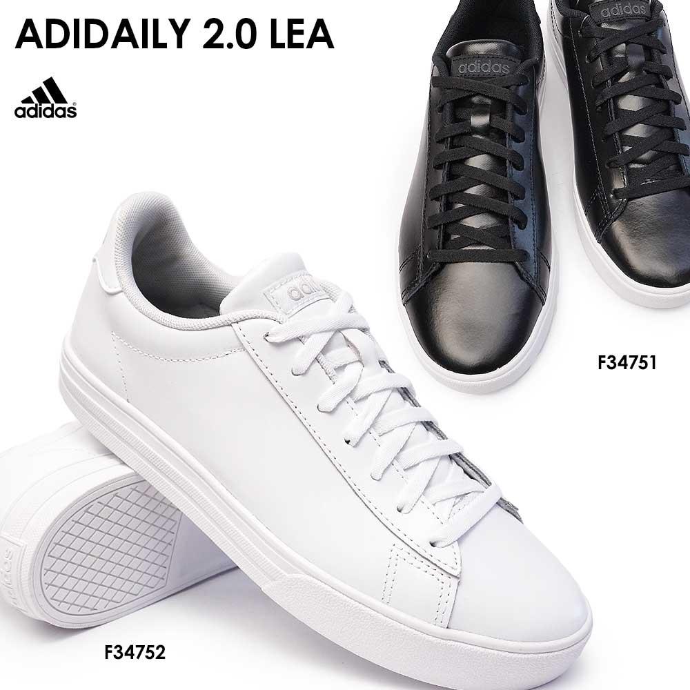 アディダス スニーカー ADIDAILY 2.0 LEA レディース コートスタイル レザー シンプル F34751 F34752 adidas ADIDAILY 2.0 LEA ブラック ホワイト モノクロ