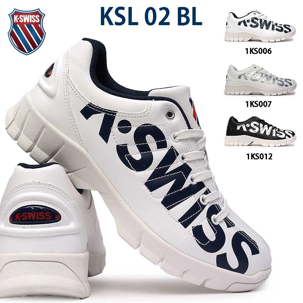 ケースイス KSL 02 BL 厚底スニーカー メンズ レディース ビッグロゴ Kスイス エバー 復刻 K・SWISS Kスイス テニスシューズ 厚底 ダットスニーカー
