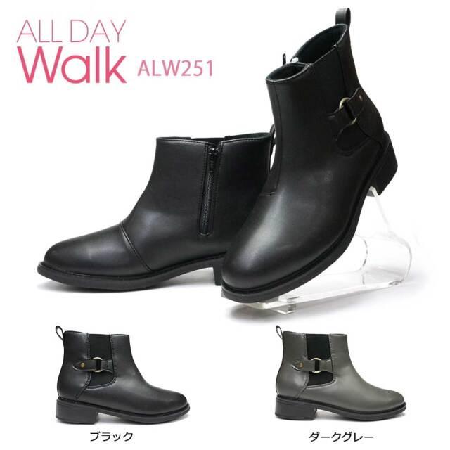 オールデイウォーク ブーツ 251 サイドジップ 歩きやすい 透湿 防水 美脚 あったかい ALL DAY WALK ALW2510 抗菌 防臭 サイドゴア 防滑