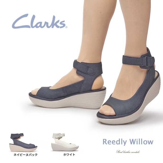 クラークス サンダル レディース 415G リードリーウイロウ レザー ウェッジソール 本革 厚底 Clarks Reedly Willow