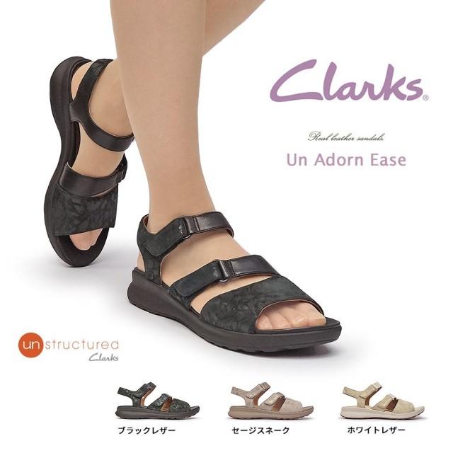 クラークス サンダル レディース 517G UNアドーンイーズ レザー フラット 本革 ストラップ Clarks Un Adorn Ease