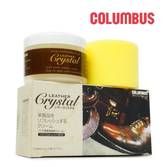 コロンブス 保革クリーム レザークリスタル 100g LY スポンジ ワックス 無色 ツヤ 保湿 柔軟 抗菌 COLUMBUS LEATHER CRYSTAL