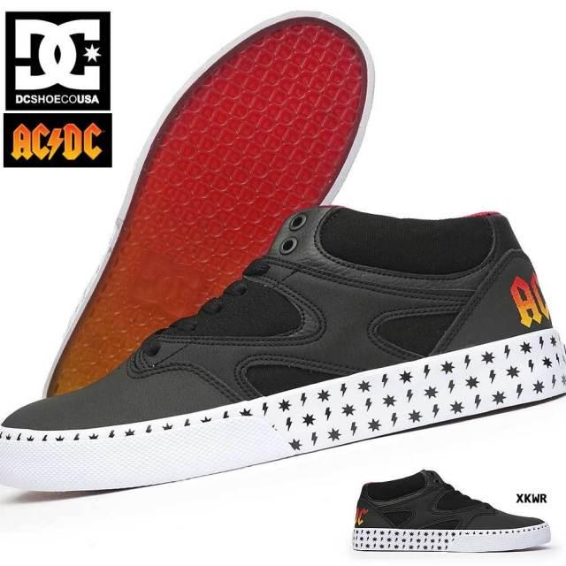 DC スニーカー メンズ DM206101 KALIS VULC MID AC/DC ミッドカット スケートボード スケーター スペシャル コラボレーション バック イン ブラック DC SHOES ADYS300638 ディーシーシューズ