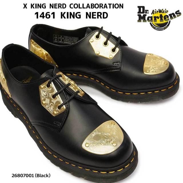 ドクターマーチン 靴 1461 キングナード 3ホール 正規品 イエローステッチ ゴールドプレート レザー 26807001 Dr.Martens 1461 KING NERD SMOOTH