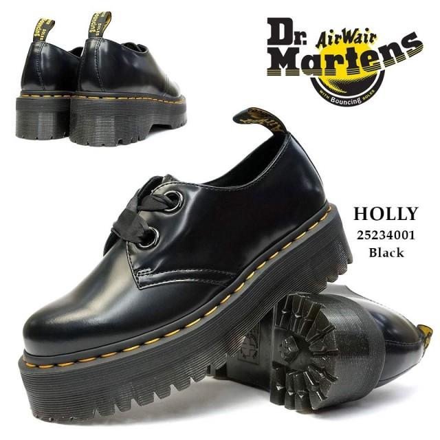 ドクターマーチン 厚底 HOLLY ホリー 黒 レディース 2ホール シューズ ダブルハイト プラットフォーム Dr.Martens QUAD RETRO HOLLY 2 EYE SHOE