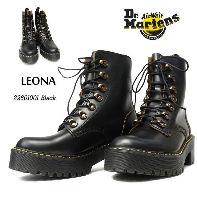 ドクターマーチン レオナ LEONA レディース レースアップ ヒールブーツ 7HOOK BOOT Dr.MARTENS SANGUINE LEONA 22601001 BLACK