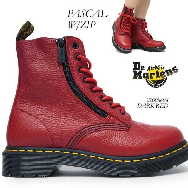 ドクターマーチン PASCAL W/ZIP CORE レディース ブーツ パスカル ウィズ ジップ レザー 赤 レッド シボ Dr.MARTENS PASCAL W/ZIP