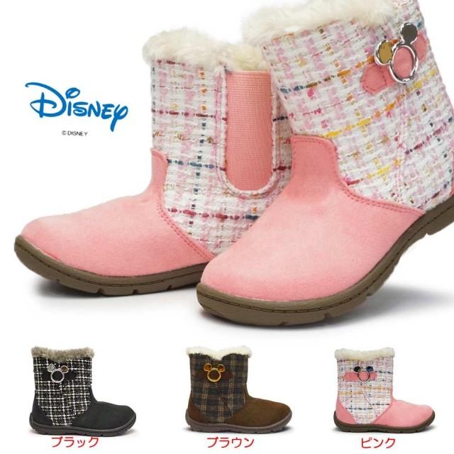 ディズニー ブーツ キッズ ミッキー DN C1222 子供ブーツ サイドゴア ボア付き ベルト飾り 抗菌 防臭 ムーンスター Disney Mickey MoonStar
