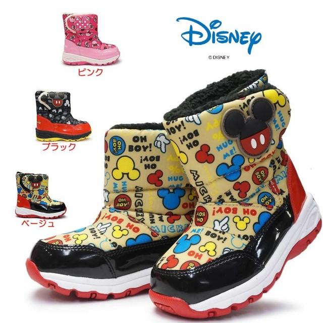 ディズニー キッズ ブーツ DN WC023ESP ミッキー ミニー 子供ブーツ マジック式 スパイク付き 防水仕樣 防寒 防滑 雪国寒冷地仕様 ムーンスター Disney Mickey Minnie MoonStar