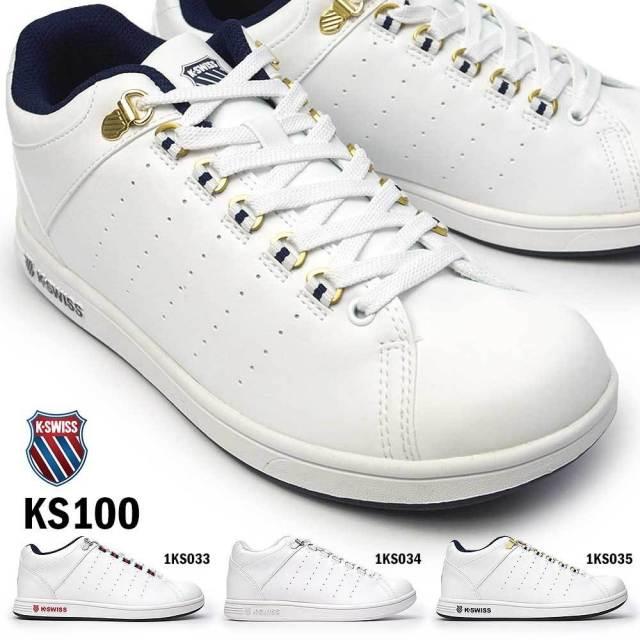 ケースイス スニーカー KS 100 メンズ レディース ホワイト ユニセックス ペア お揃い コートスタイル 復刻アレンジモデル ミッドカット K・SWISS 36101570 36101571 36101572