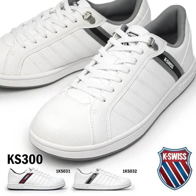 ケースイス スニーカー KS 300 メンズ レディース コートスタイル ホワイト ペア お揃い 復刻アレンジモデル ローカット ユニセックス K・SWISS 36101020 36101022