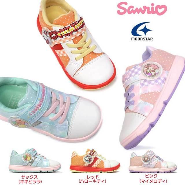 ムーンスター キッズ スニーカー サンリオ SAN C013 子供靴 サンリオキッズシューズ マジック式 カップインソール キティ マイメロ キキララ MoonStar Sanrio