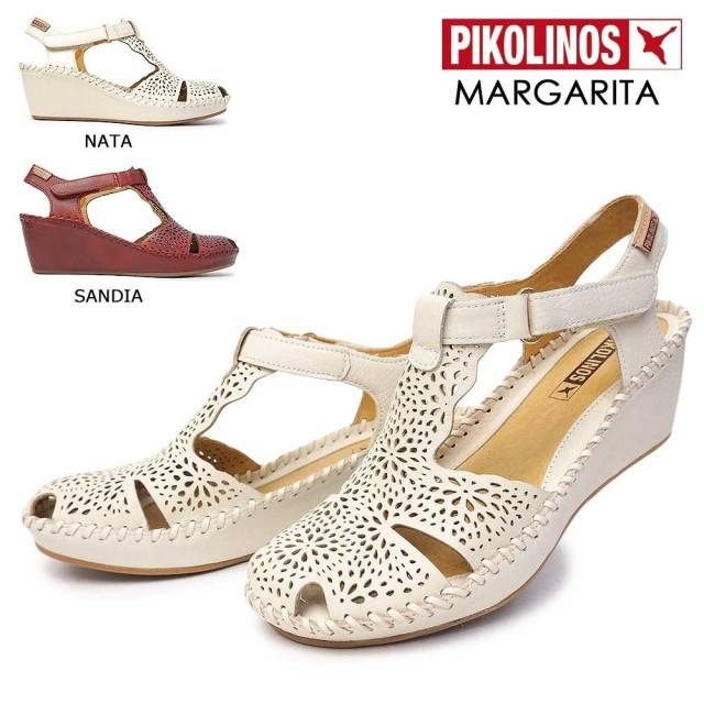ピコリノス 靴 レディース サンダル PK739 943-0985 ストラップ レザー 白 赤 PIKOLINOS MARGARITA 本革 コンフォート ウェッジ