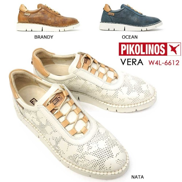 ピコリノス 靴 レディース スニーカー PK758 W4L-6612 レザー ホワイト ブラウン ブルー PIKOLINOS VERA 本革 コンフォート