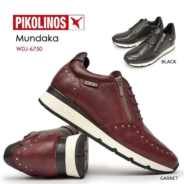 ピコリノス 靴 レディース レザースニーカー PK801 W0J-6750 本革 スタッズ PIKOLINOS MUNDAKA 本革 コンフォート ファスナー