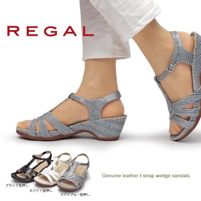 リーガル 靴 レディース サンダル F90M 本革 Tストラップ ウエッジソール クロコ型押し レザー REGAL アンクルストラップ