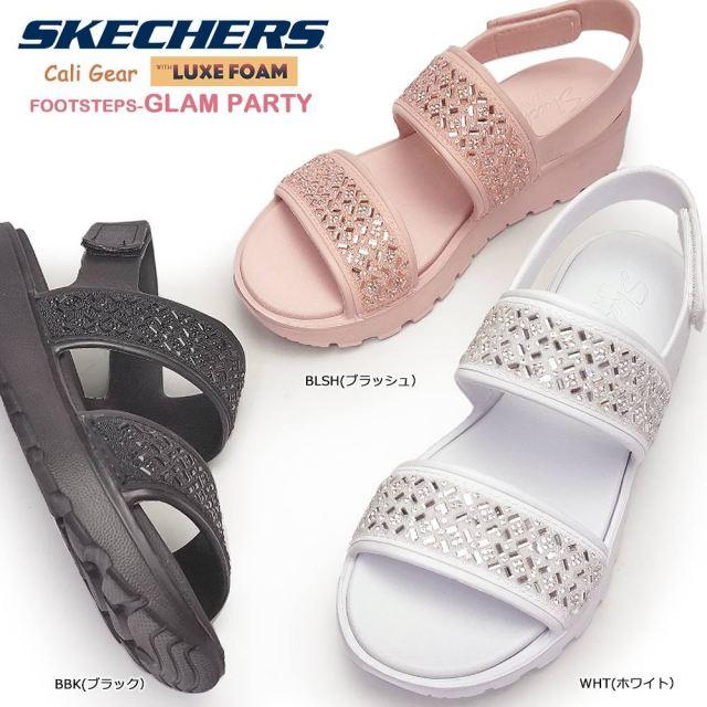 スケッチャーズ レディース サンダル 111065 フラット グラムパーティ 軽量 ビジュー コンフォート SKECHERS Footsteps-Glam Party