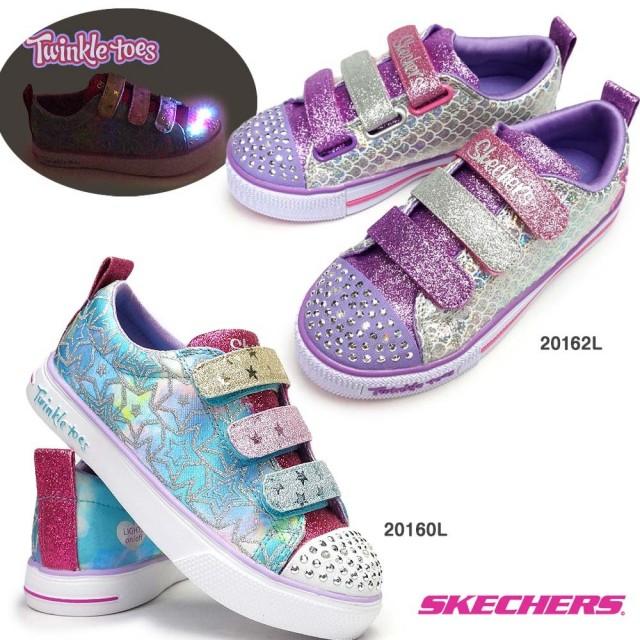 スケッチャーズ 光る靴 ガールズ 20160L 20162L Twinkle Toes 子供靴 スニーカー キッズ ジュニア 女の子 総柄 SKECHERS Girls S LIGHTS SPARKLE DUST/SPARKLE SCALES