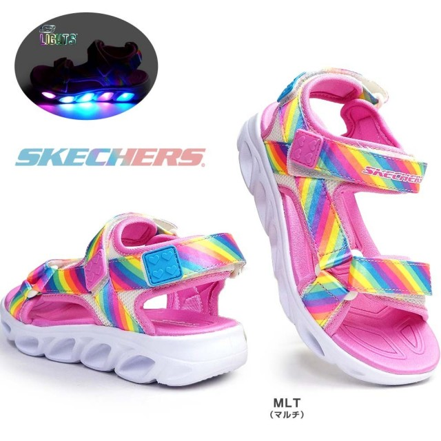 スケッチャーズ 光る靴 ガールズ サンダル 20218L エスライツ スポーツサンダル 子供靴 キッズ ジュニア SKECHERS Girls S LIGHTS HYPNO SPLASH/RAINBOW LIGHTS