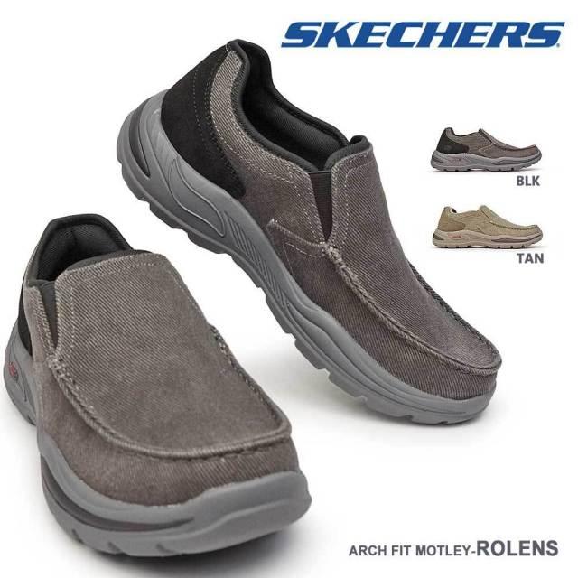 スケッチャーズ スニーカー メンズ 204178 スリッポン モカシンシューズ Arch Fit Motley - Rolens SKECHERS キャンバス